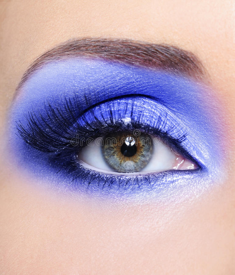 Blue fashion make-up of woman eye stock photo