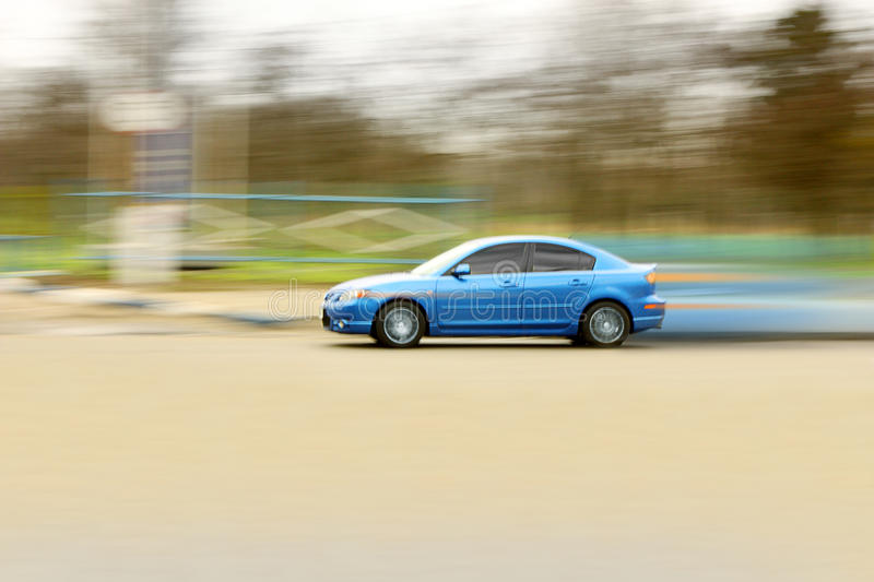 Blue Fast Car. Royalty Free Stock Photo