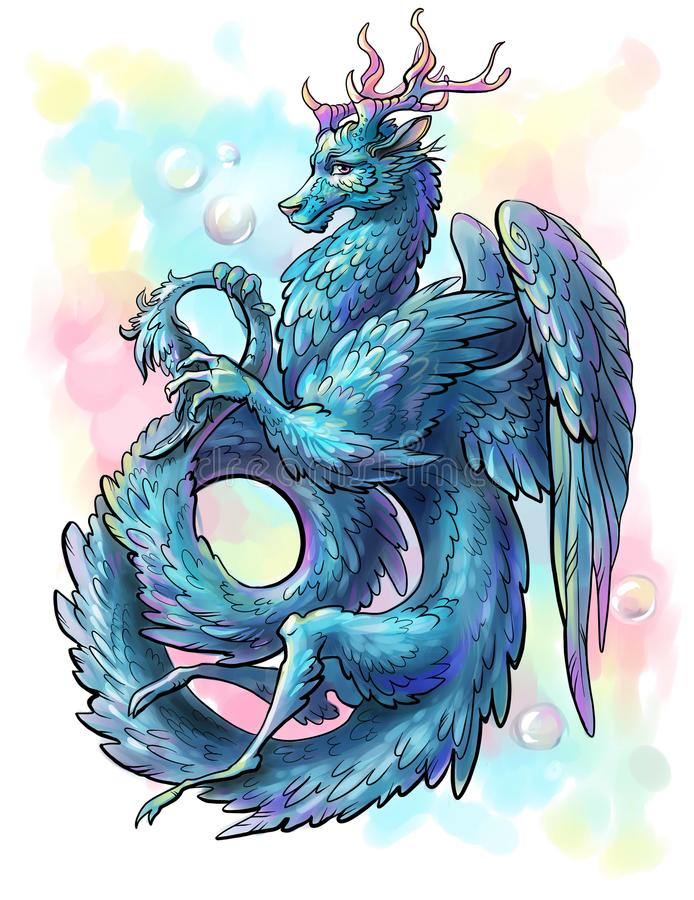 Download Blue Feathered Dragon Stock Illustration. Illustration Of Design    105763814
