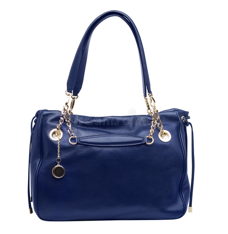 Blue female purse isolated on white royalty free stock image