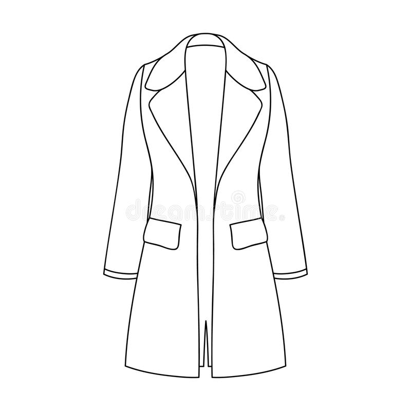 Blue female restrained coat buttoned. Women s outerwear..Women clothing single icon in outline style vector symbol stock. Blue female restrained coat buttoned royalty free illustration