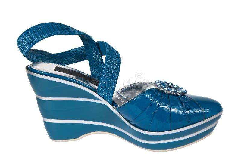 Blue female shoes royalty free stock photo