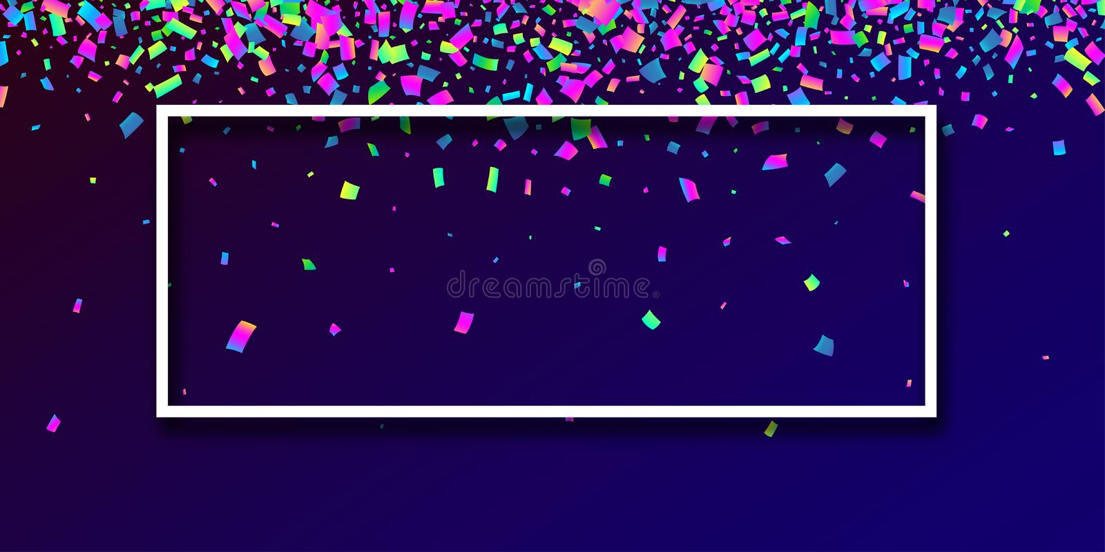 Blue festive background with colorful confetti. vector illustration