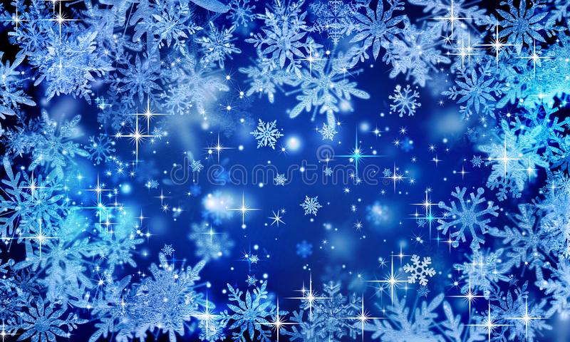 Blue festive winter background, Christmas, glitter, snowflakes falling, icy snowflakes, snowfall, holiday, new year, bright, place. Abstract  stars  background royalty free stock photos