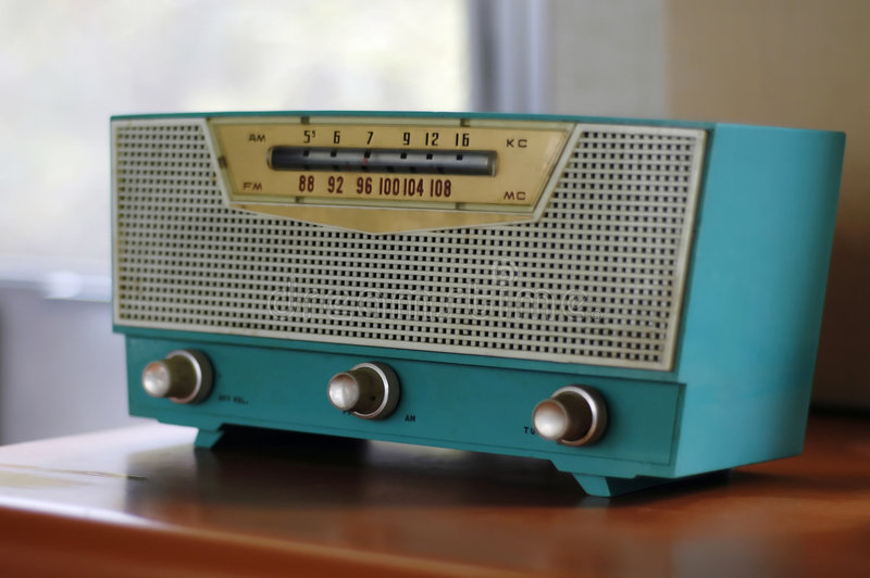 Blue Fifties Radio set royalty free stock photography
