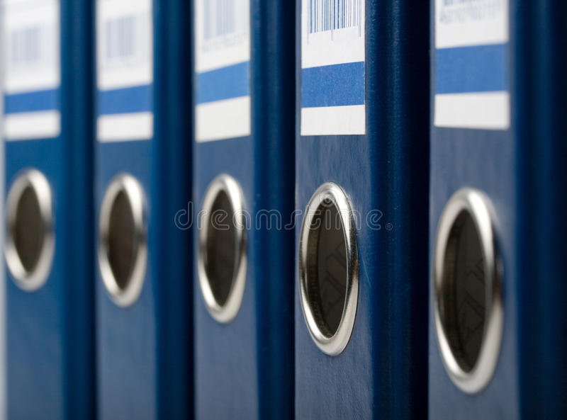 Blue file folders stock photography