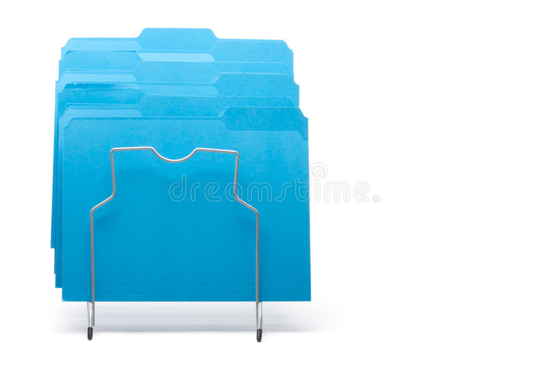 Blue File Folders in Rack. royalty free stock photo