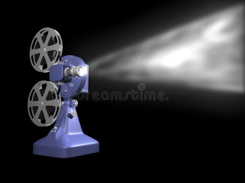 Blue film projector playing. On black background 3D Render vector illustration