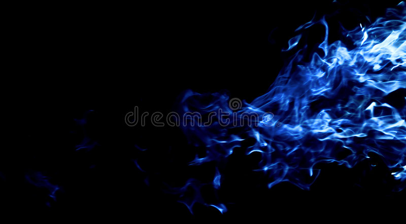 Blue fire. Fire isolated on black background stock image