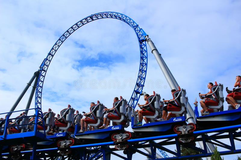 Blue Fire roller coaster arrival stock photo