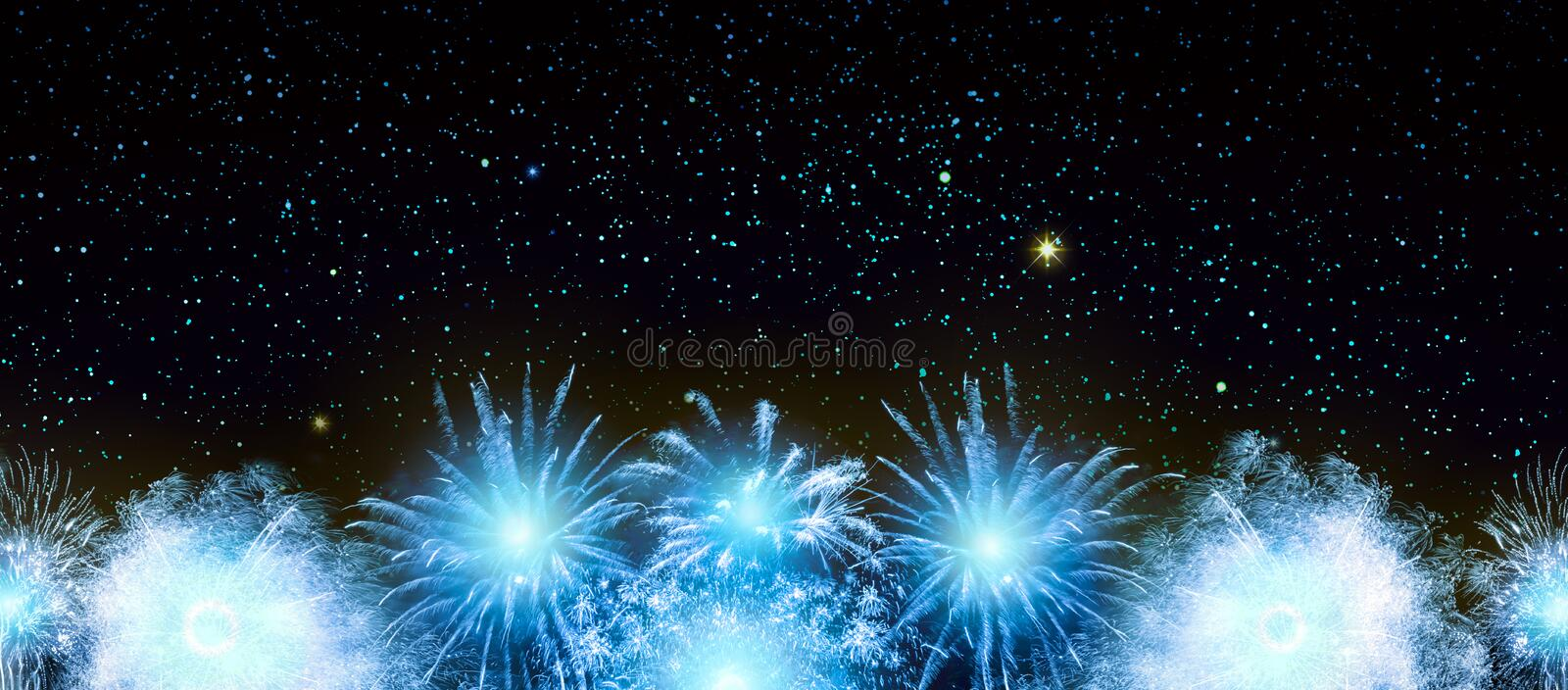 Abstract blue firework background . New Year background. stock image