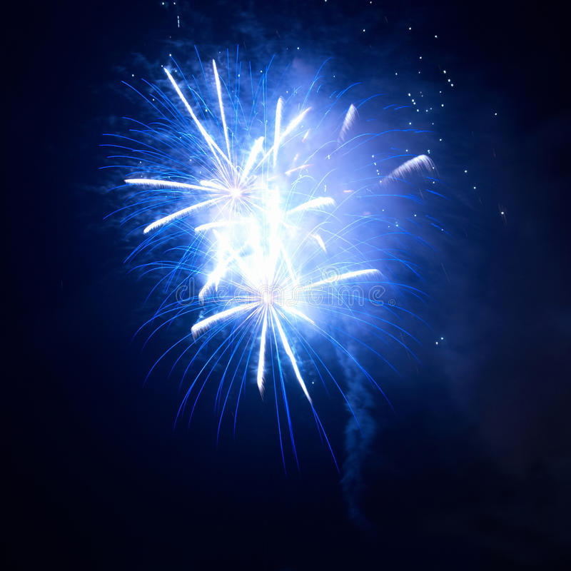 Blue fireworks stock photography