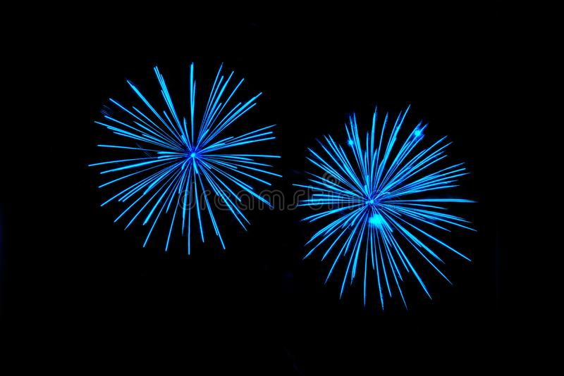 Blue fireworks with native space royalty free stock photo