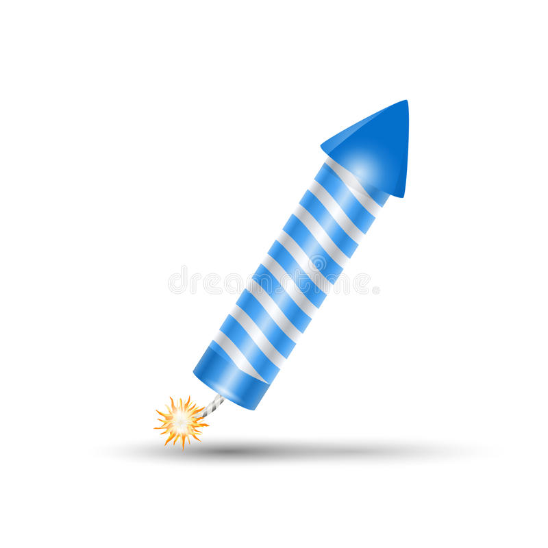 Blue fireworks rocket, petard. Blue fireworks rocket. Blue petard, confetti or firecracker stock illustration