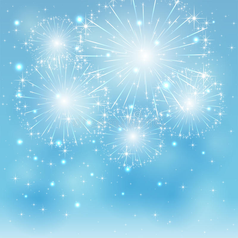 Blue fireworks royalty free illustration