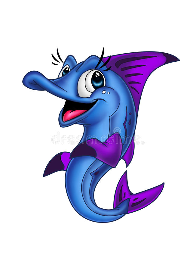 Blue fish 1. Blue fish sprightly glad calls to play royalty free illustration