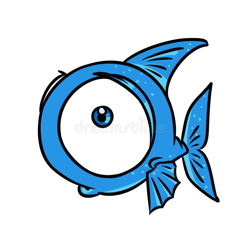 Blue fish big eye cartoon illustration royalty free illustration