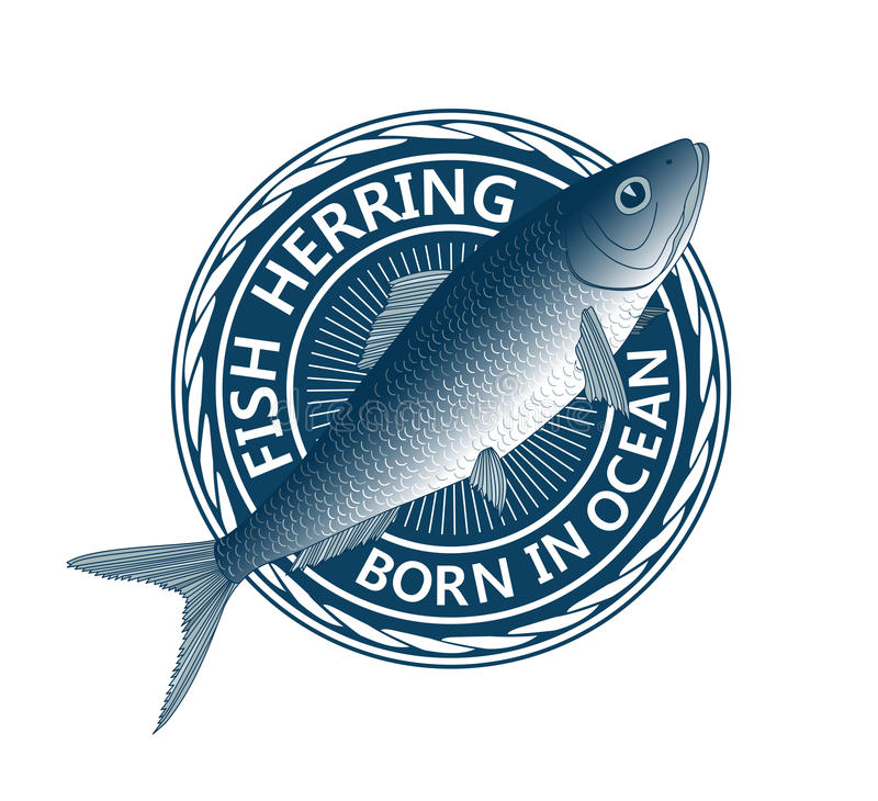 Blue fish herring. Fish herring on blue circle background vector illustration