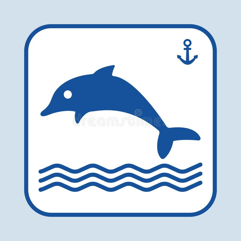 Blue fish icon. Dolphin swimming in the sea or ocean. Sign anchor. Marine theme. Vector illustration. Blue fish icon. Dolphin swimming in the sea or ocean. Sign vector illustration