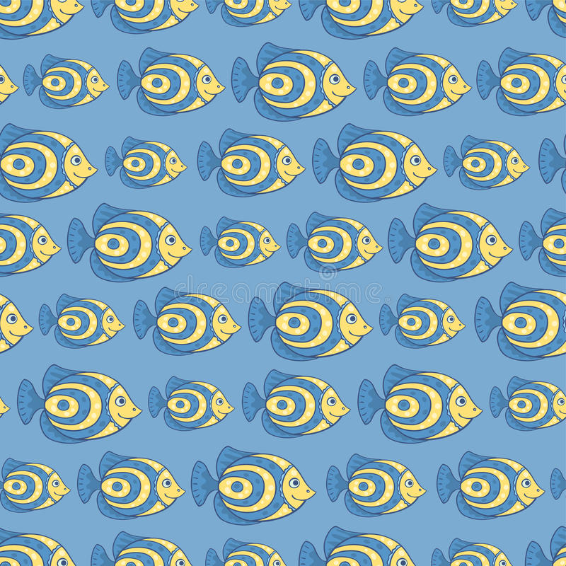 Download Blue fish seamless pattern stock vector. Image of freshwater - 36271989