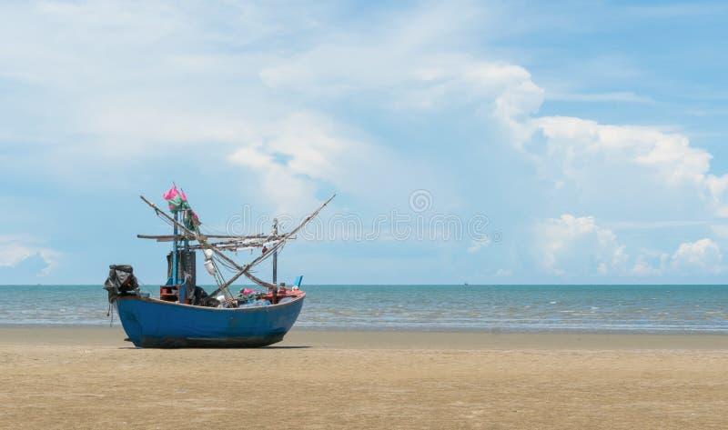 Blue Fishing Boat on Sam Roi Yod Beach Prachuap Khiri Khan Thailand 2. Blue fishing boat or fisherman boat or ship on Sam Roi Yod bech Prachuap Khiri Khan royalty free stock image