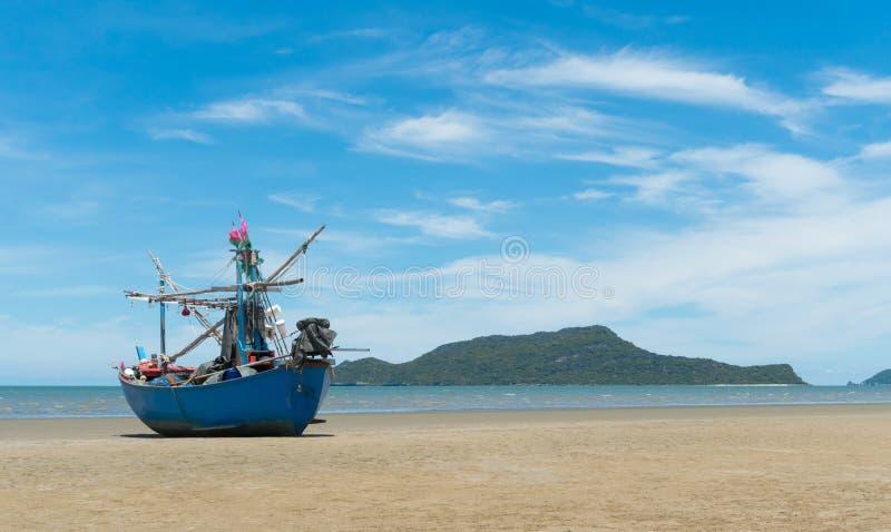 Blue Fishing Boat on Sam Roi Yod Beach Prachuap Khiri Khan Thailand 4. Blue fishing boat or fisherman boat or ship on Sam Roi Yod bech Prachuap Khiri Khan royalty free stock photography