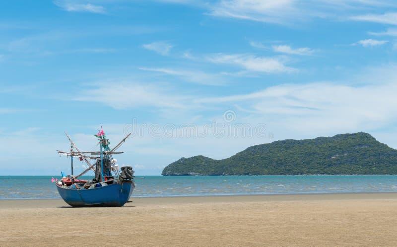 Blue Fishing Boat on Sam Roi Yod Beach Prachuap Khiri Khan Thailand 3. Blue fishing boat or fisherman boat or ship on Sam Roi Yod bech Prachuap Khiri Khan royalty free stock image