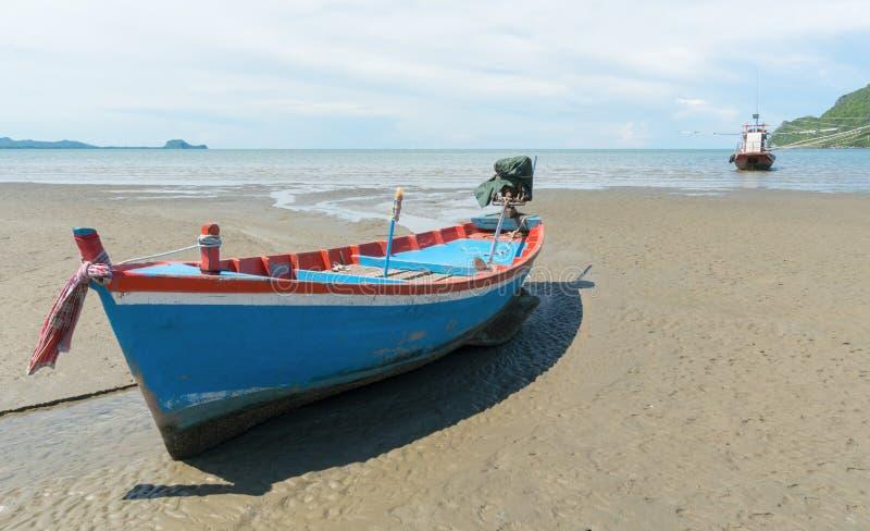 Blue Fishing Boat on Sam Roi Yod Beach Prachuap Khiri Khan Thailand Left 3. Blue fishing boat or fisherman boat or ship on Sam Roi Yod bech Prachuap Khiri Khan royalty free stock photo