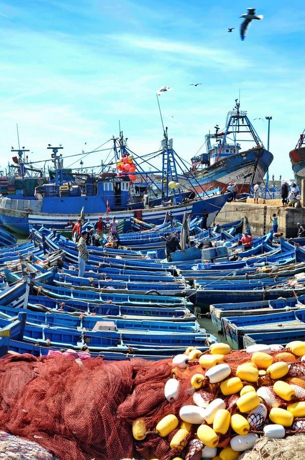 Blue fishing boats of Essaouira royalty free stock photography