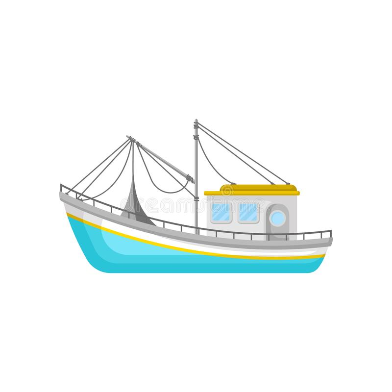 Blue fishing trawler with net and ropes. Water transport. Flat vector icon of boat for commercial fishing concept. Blue fishing trawler with net and ropes. Water stock illustration