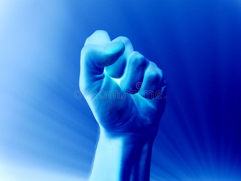 Blue Fist stock image