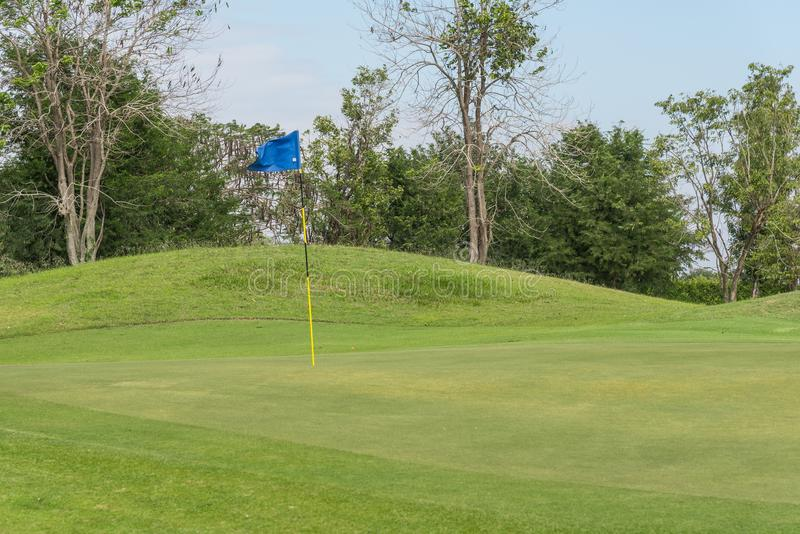 Flag at golf course stock images