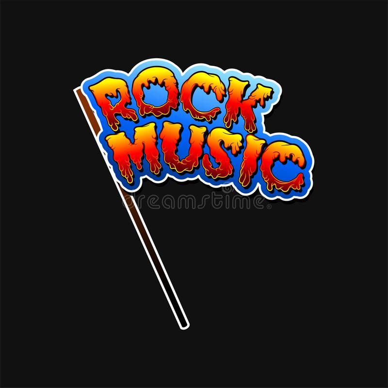Blue flag with text Rock Music from hot lava font. Vector element for sticker or promo poster of festival or concert vector illustration