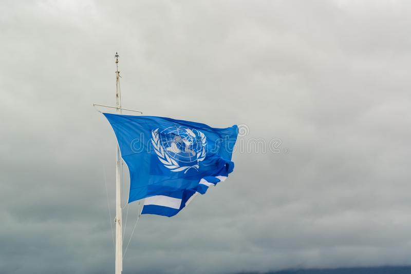 Blue flag of UN stock photography