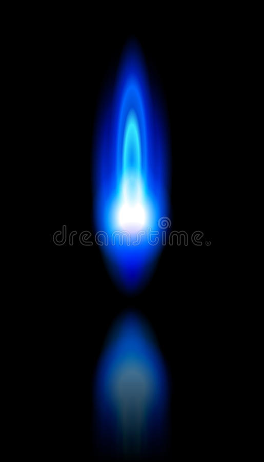 Blue flame of a burning natural gas vector illustration