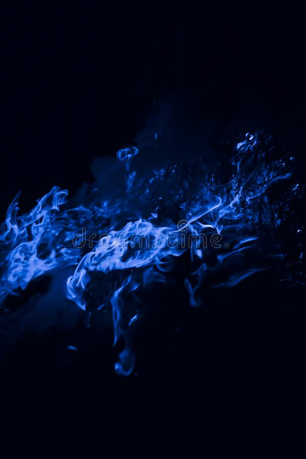 Blue flame. Burning of rice straw at night. Blue flame. Fire. Burning of rice straw at night royalty free stock images