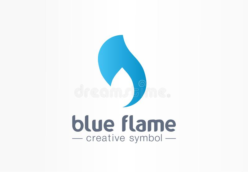 Blue flame energy creative symbol concept. Power fire and water silhouette abstract business fight logo. Hot fireball vector illustration