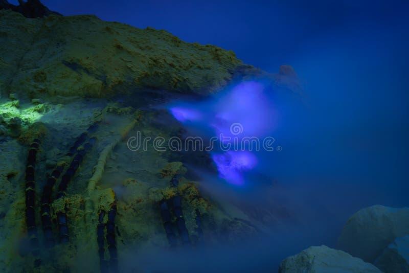 Blue Flame in Sulfur mining at night, Kawah Ijen volcano, East J. Ava, Indonesian stock photo