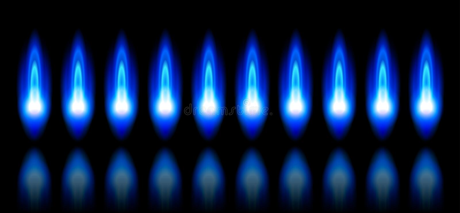 Blue flames of a burning natural gas stock illustration