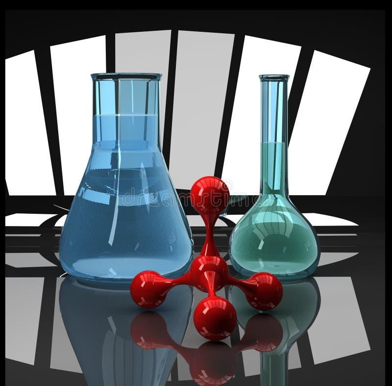 Blue flasks and red molecule scientific compositio vector illustration