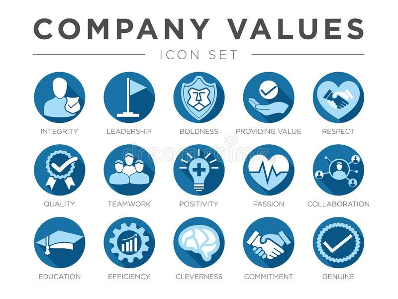Blue Flat Business Company Values Flat Round Icon Set. Integrity, Leadership, Boldness, Value, Respect, Quality, Teamwork, vector illustration