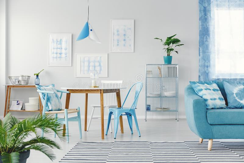 Blue flat interior with gallery stock photo