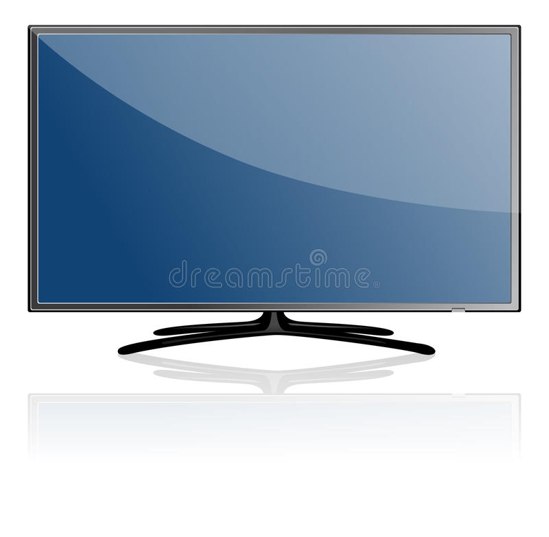 Blue Flat Screen TV Set stock photo