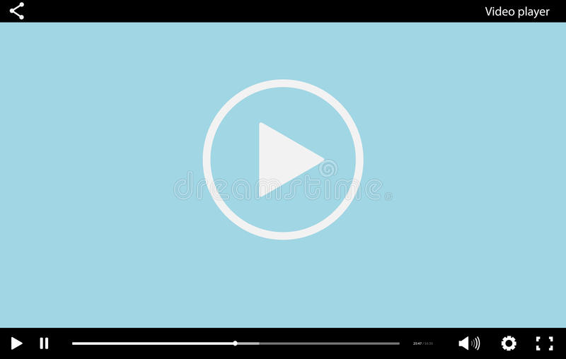 Blue flat Video player bar template for your design. vector illustration