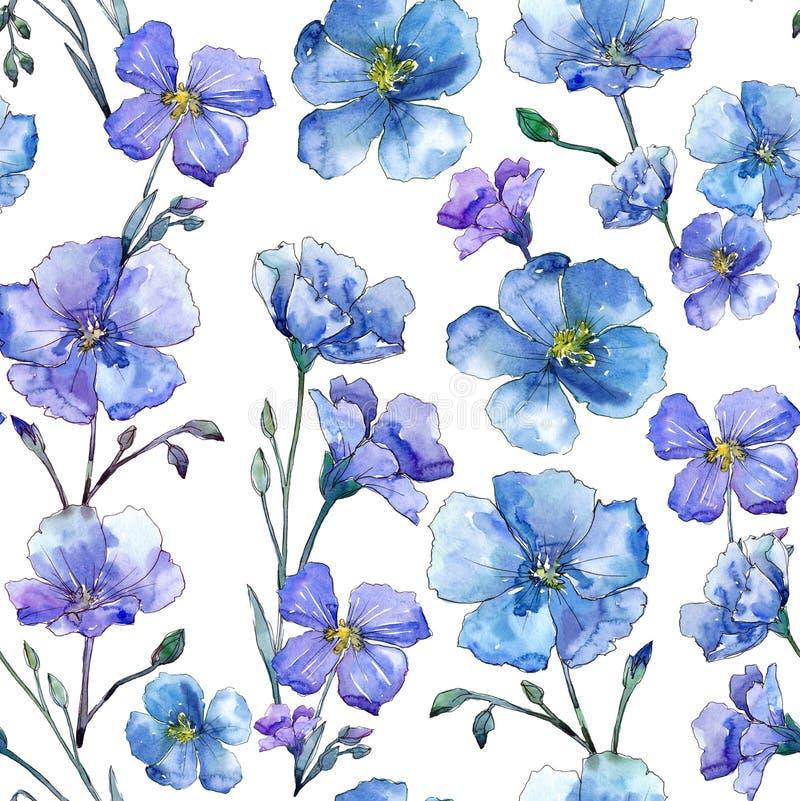 Blue flax. Floral botanical flower. Wild spring leaf wildflower pattern. royalty free illustration