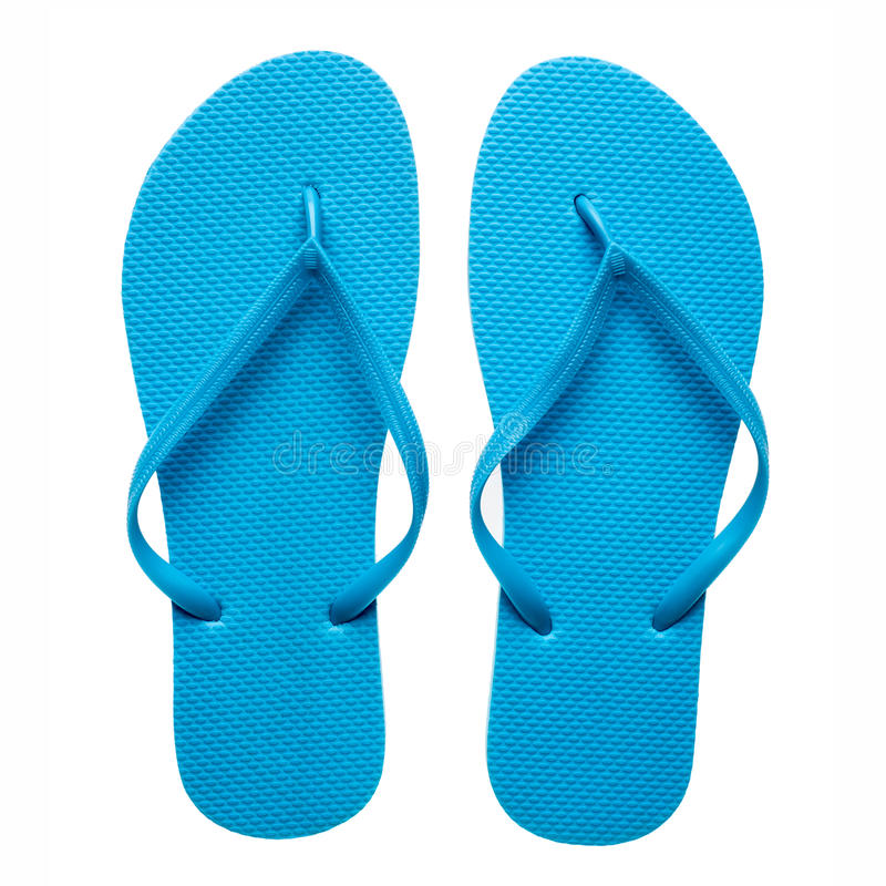 Blue flip-flops isolated stock photos