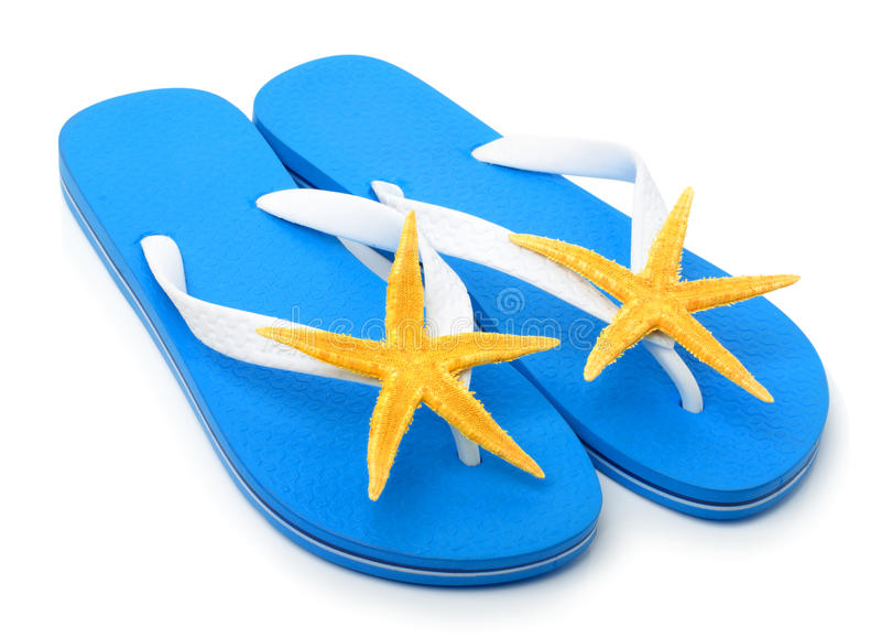 Blue flip flops with starfishes stock photos