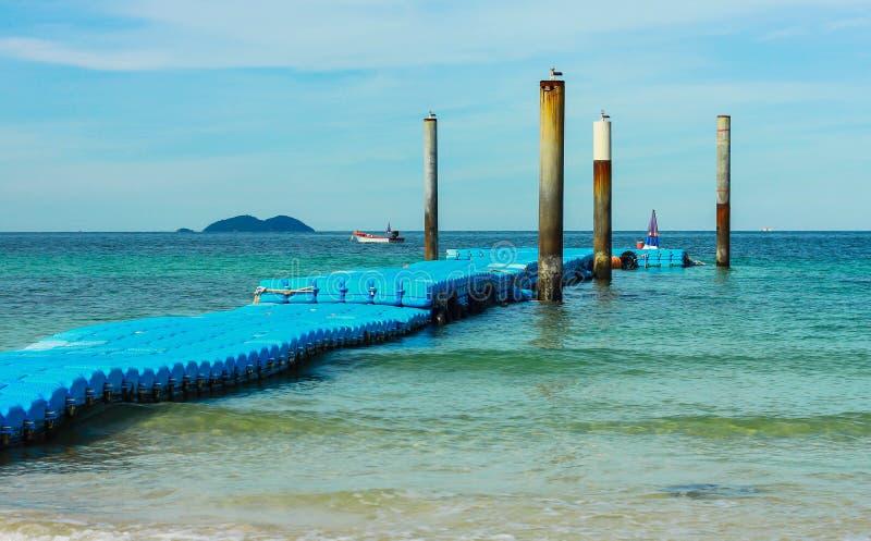 Sky Walk Boards : Blue floating walk way pontoon and sky stock photo