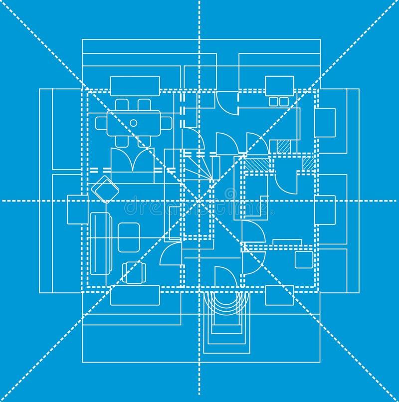 Blue floor plan, illustration