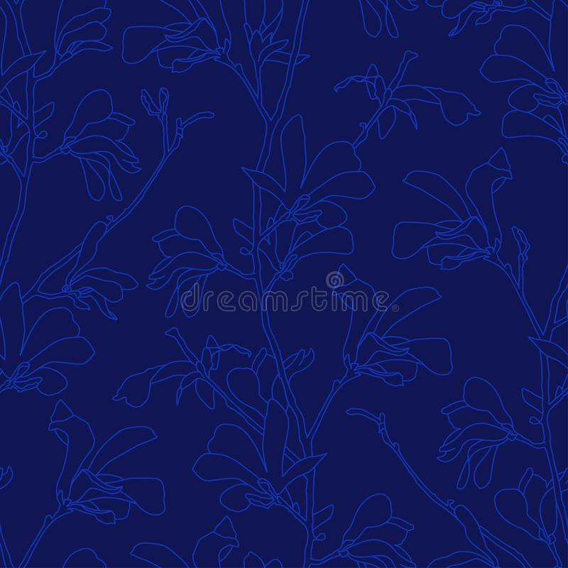 Blue floral background with branch and magnolia flower. Seamless pattern with magnolia tree blossom. Spring design with stock illustration